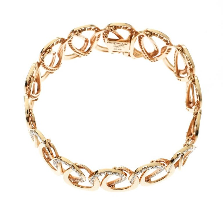 Montblanc Princesse Grace de Monaco Petal Diamond 18k Rose Gold Bracelet In Excellent Condition For Sale In Dubai, Al Qouz 2