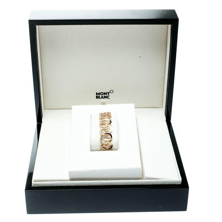 Montblanc Princesse Grace de Monaco Petal Diamond 18k Rose Gold Bracelet For Sale 1