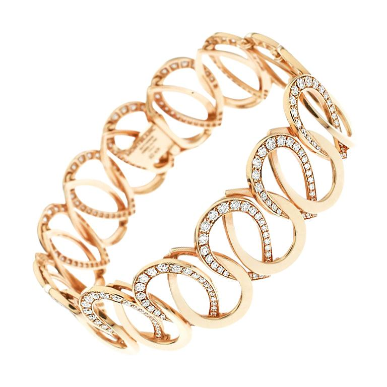 Montblanc Princesse Grace de Monaco Petal Diamond 18k Rose Gold Bracelet For Sale