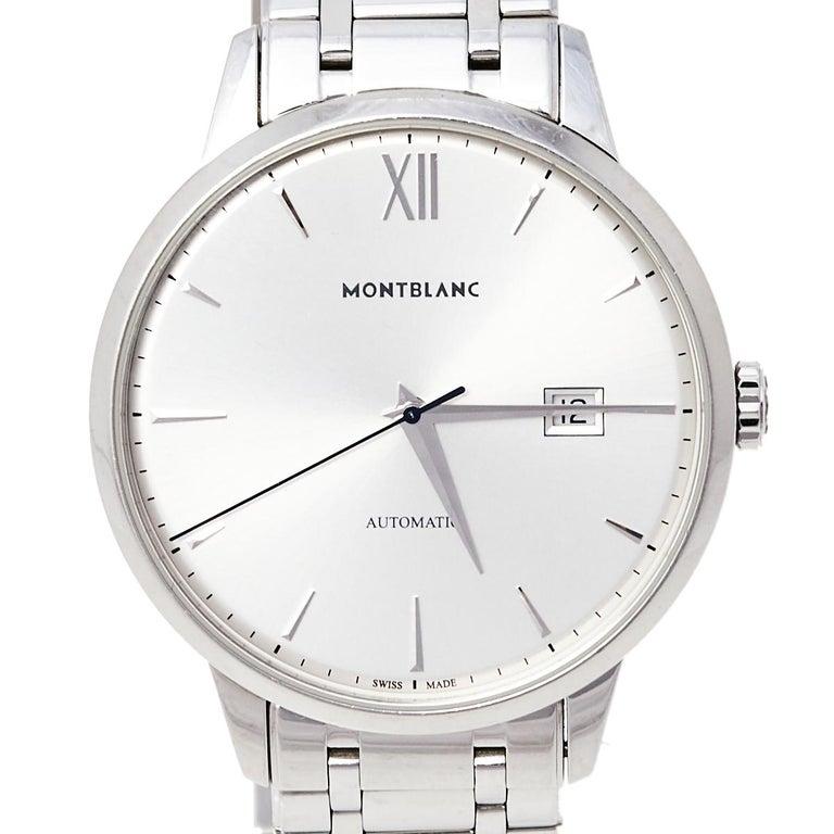 Montblanc Silver Stainless Steel Heritage Meisterstuck 7325 Men's Wristwatch 40  In Good Condition For Sale In Dubai, Al Qouz 2