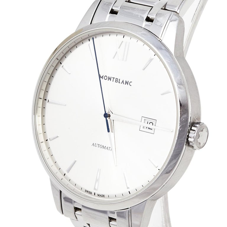 Montblanc Silver Stainless Steel Heritage Meisterstuck 7325 Men's Wristwatch 40  For Sale 1