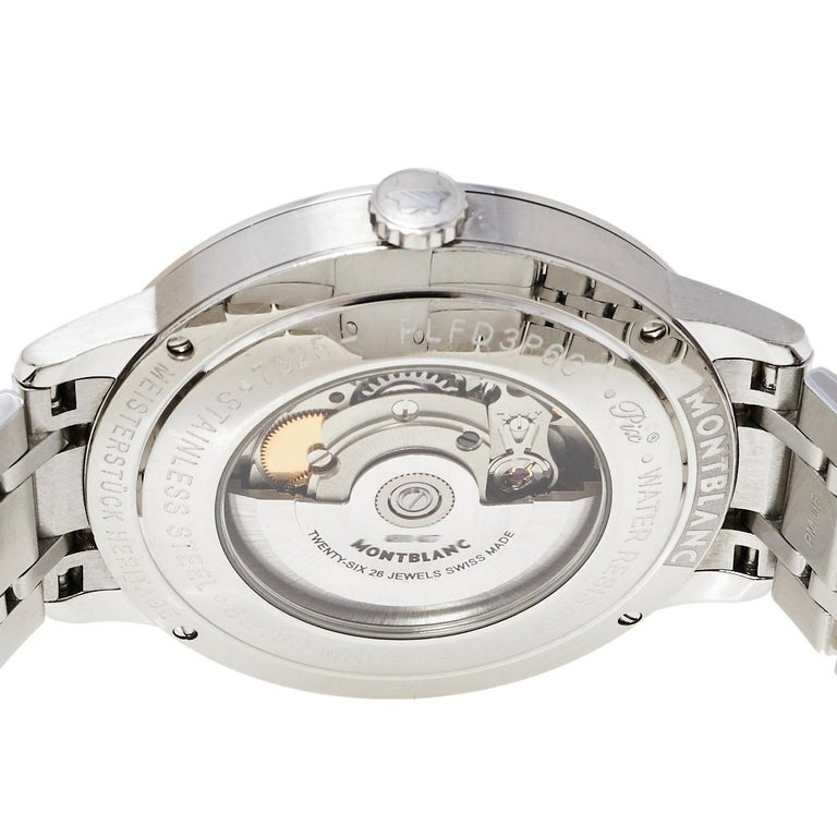 Montblanc Silver Stainless Steel Heritage Meisterstuck 7325 Men's Wristwatch 40  For Sale 4