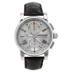 Montblanc Silver Stainless Steel & Leather Star Automatic Men's Wristwatch 44 mm