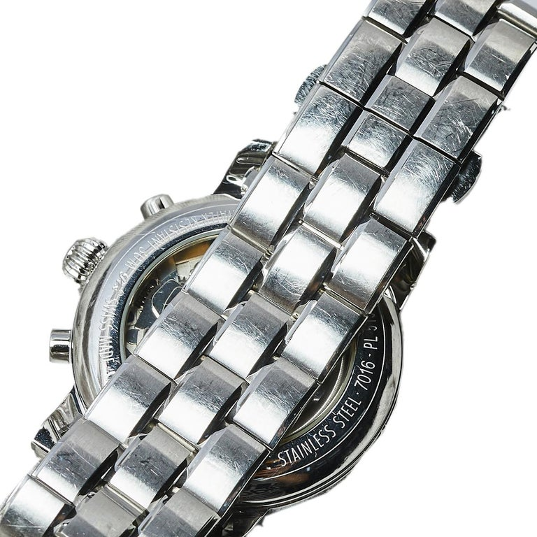 Contemporary Montblanc Silver Stainless Steel Meisterstuck 7016 Men's Wristwatch 38 mm For Sale