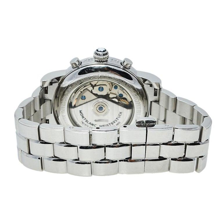 Montblanc Silver Stainless Steel Meisterstuck 7016 Men's Wristwatch 38 mm In Good Condition For Sale In Dubai, Al Qouz 2