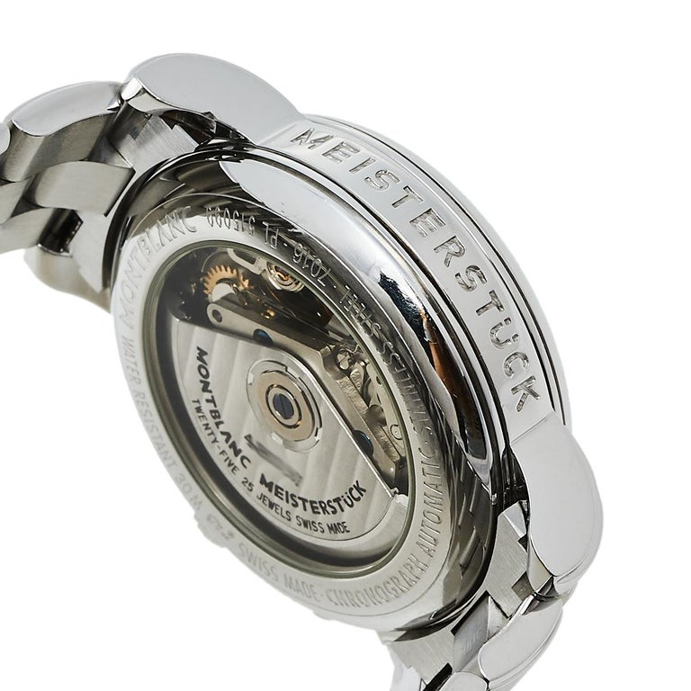 Montblanc Silver Stainless Steel Meisterstuck 7016 Men's Wristwatch 38 mm For Sale 2