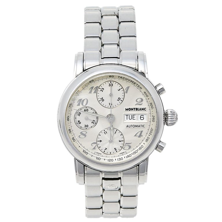 Montblanc Silver Stainless Steel Meisterstuck 7016 Men's Wristwatch 38 mm For Sale
