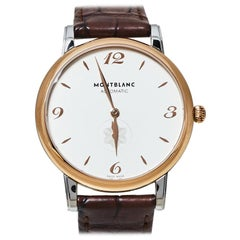 Montblanc Silver White 18K Rose Gold Stainless Steel Leather Star Classique Men'