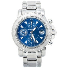 Montblanc Sport 7034 Chronograph Blue Dial SS Automatic