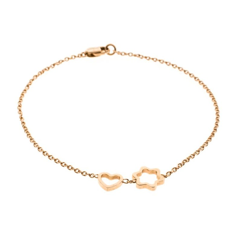 Contemporary Montblanc Star Heart Charm 18k Rose Gold Bracelet For Sale