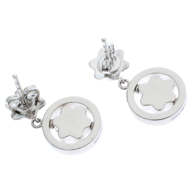 Contemporary Montblanc Star Signet Collection Silver Dangle Stud Earrings For Sale