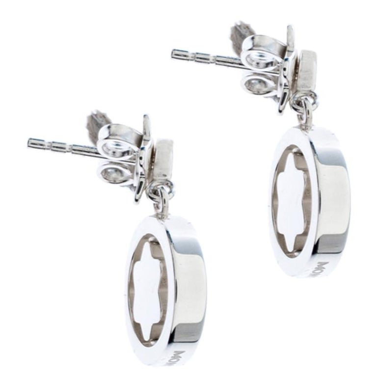 Women's Montblanc Star Signet Collection Silver Dangle Stud Earrings For Sale