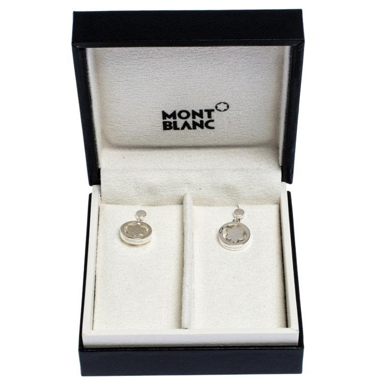 Montblanc Star Signet Collection Silver Dangle Stud Earrings For Sale 1