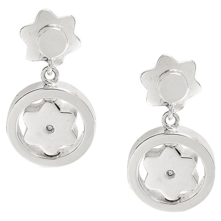 Montblanc Star Signet Collection Silver Dangle Stud Earrings For Sale