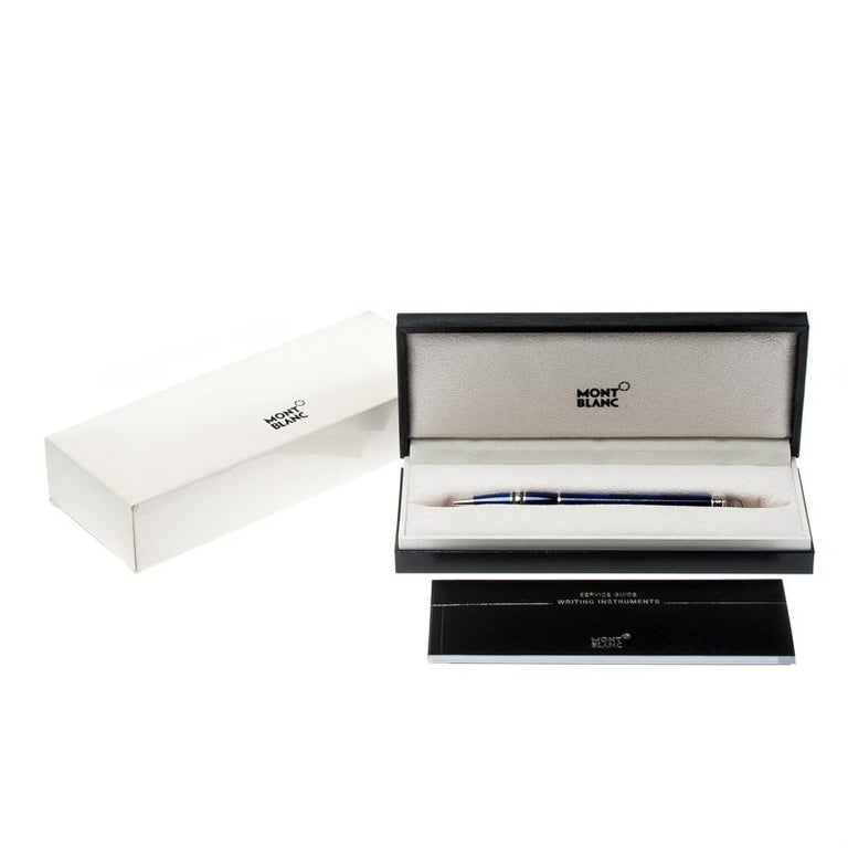 Montblanc StarWalker Midnight Blue Resin Silver Tone Ballpoint Pen For Sale 1