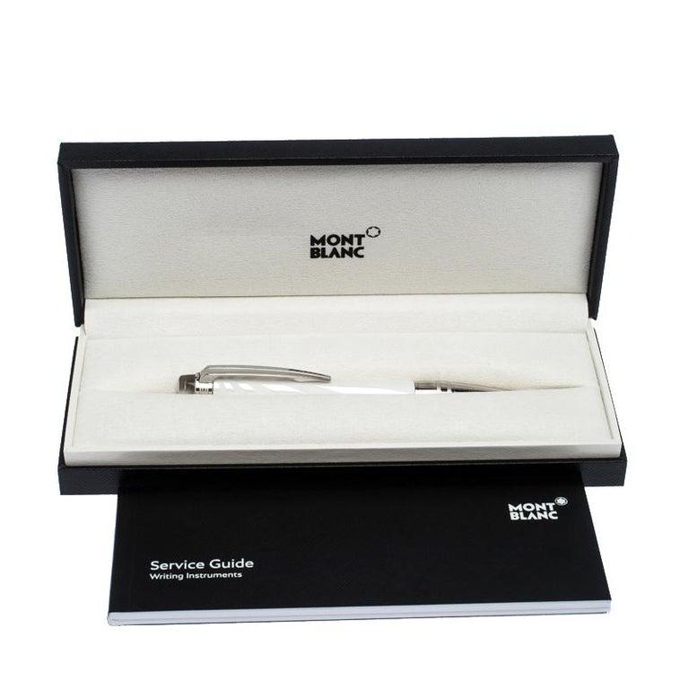 Montblanc StarWalker White Ceramics Doué Silver Tone Ballpoint Pen For Sale 1