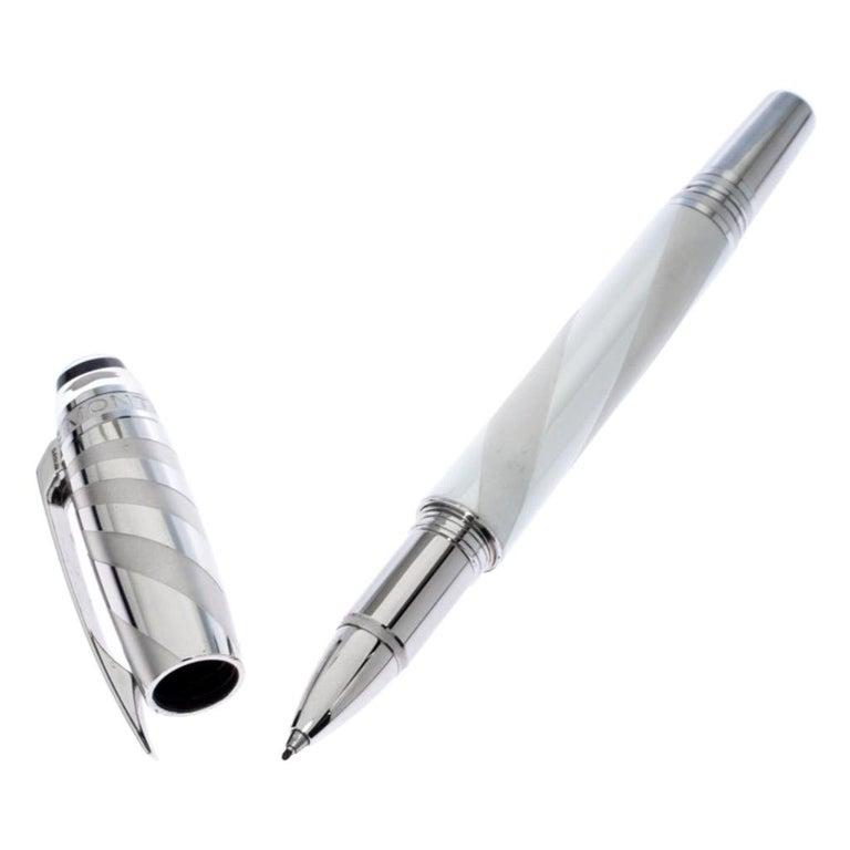 Montblanc StarWalker White Ceramics Doué Silver Tone Fineliner Pen For Sale