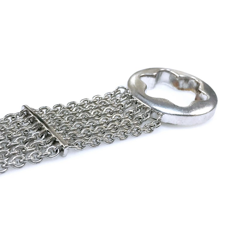 Montblanc Sterling Silver Chain Bracelet In Good Condition For Sale In Palm Desert, CA