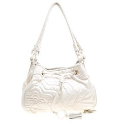 Montblanc White Nylon and Leather Starisma Dalila Drawstring Hobo