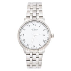 Montblanc White Stainless Steel Tradition 112632 Men's Wristwatch 36 mm