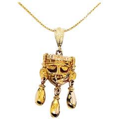 "Monte Alban Gold Mask Pendant ""Xipe Totec"" Oaxaca Tomb Mexico Aztec 14K Necklace"