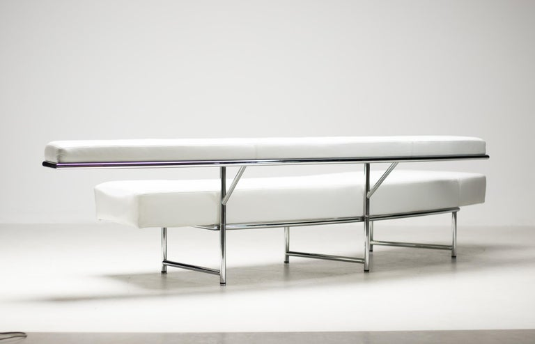 Monte Carlo Sofa in White Leather by Eileen Gray For Sale 1