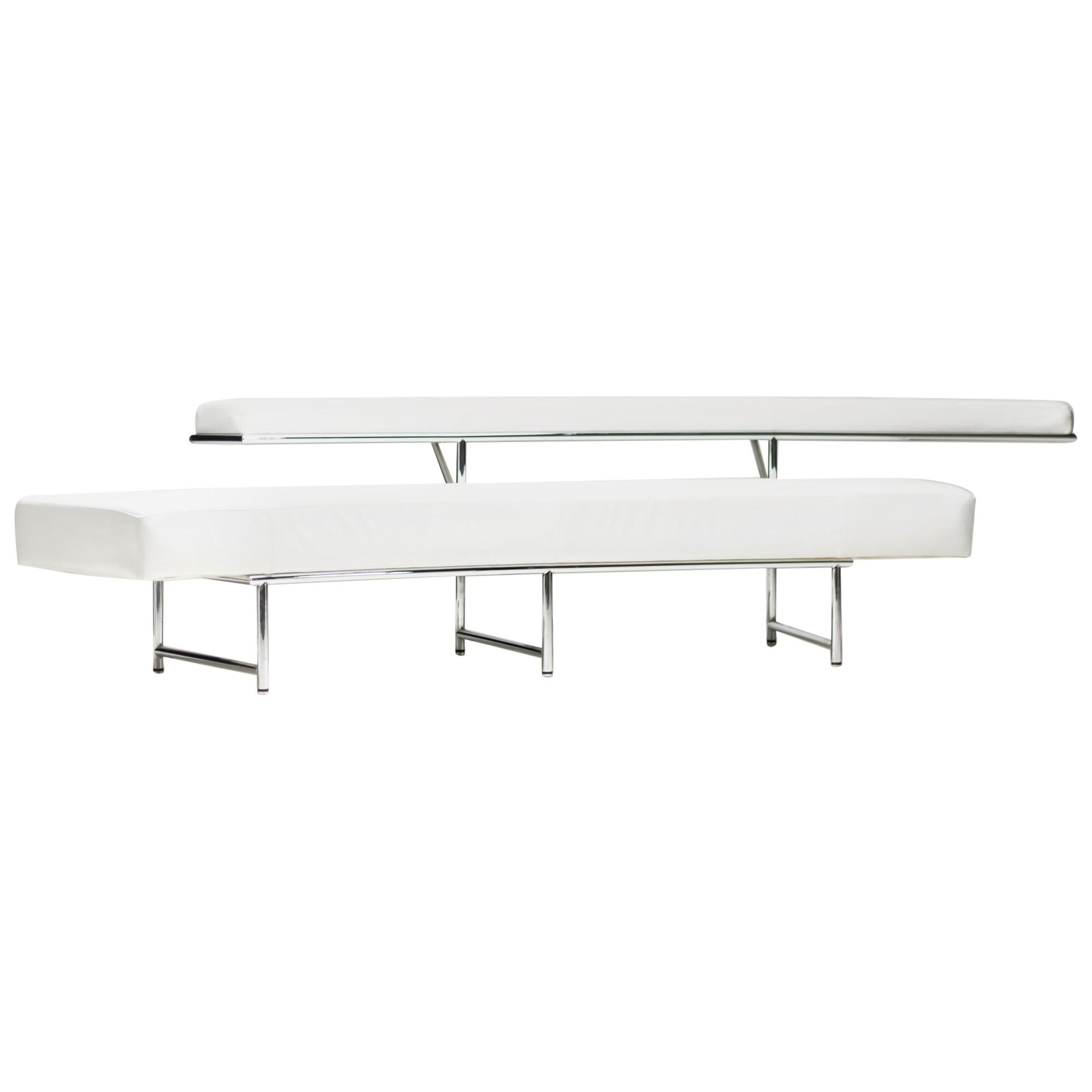 Monte Carlo Sofa in White Leather by Eileen Gray