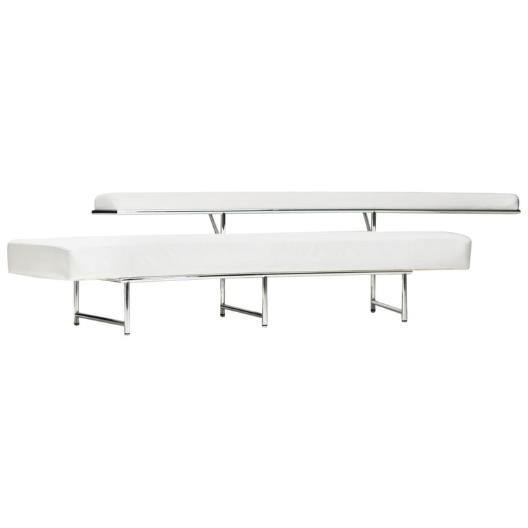 Monte Carlo Sofa in White Leather by Eileen Gray For Sale