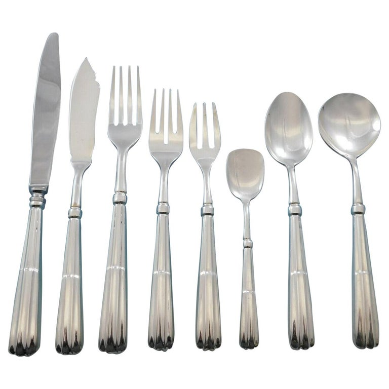 Monte Napleone by Calegaro Buccellati Italy Sterling Silver Flatware Set 118 Pcs For Sale