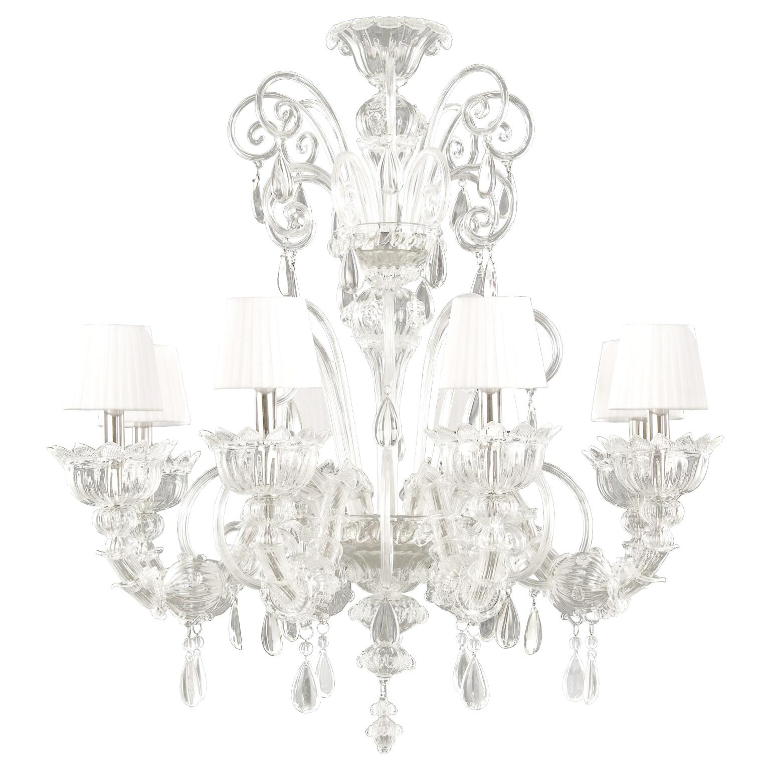 Artistic Chandelier 8 arms Murano Glass Lampshades Montecristo by Multiforme