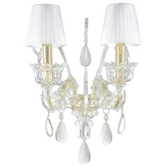 Sconce 2arms Venetian style Murano Glass, White Lampshades by Multiforme