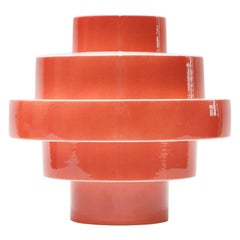 Montèe Solid Ceramic Vase in Coral Red by Simona Cardinetti, Handmade in Italy