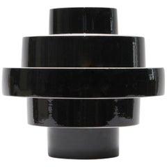 Montèe Solid Ceramic Vase in Glossy Black, Handmade in Italy