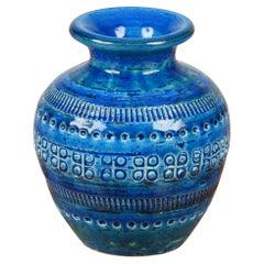 Montelupo and Londi Midcentury Blue Terracotta Italian Vase for Bitossi, 1960s