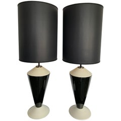 Montelupo Fiorentino Italian Ceramic Black and White Lamps