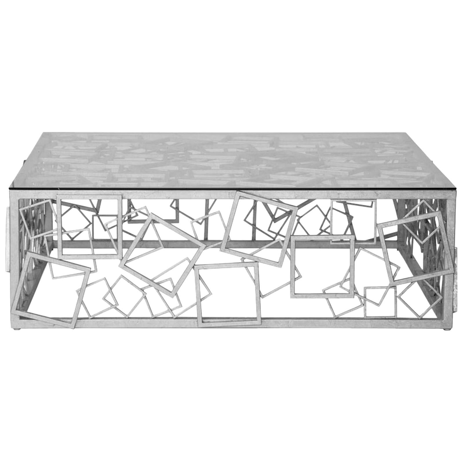 Monterey Cocktail Table in Silver Leaf by Innova Luxuxy Group