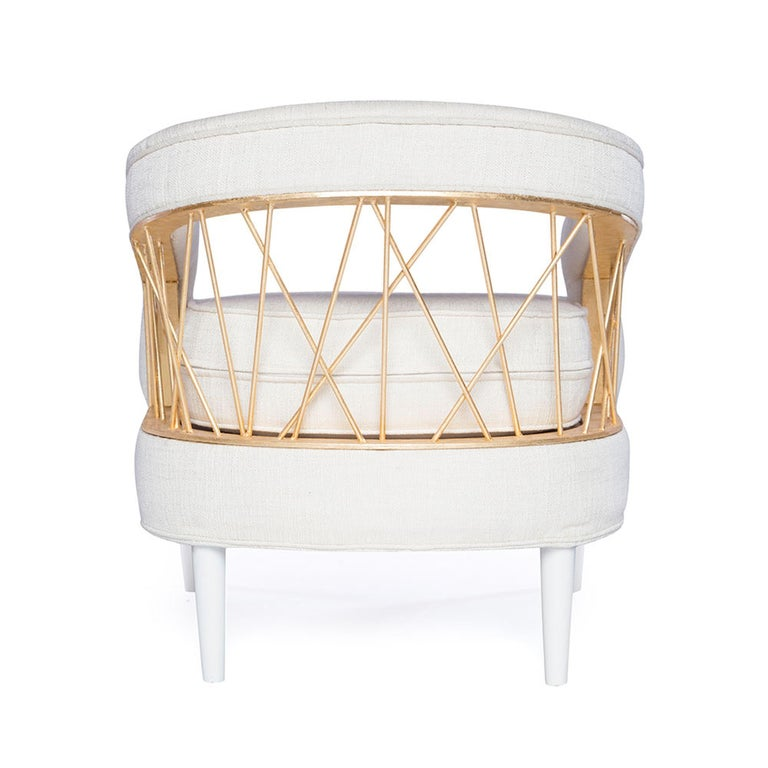 Modern Monterey Lounge Chair I in White with Gold Details by Badgley Mischka Home For Sale