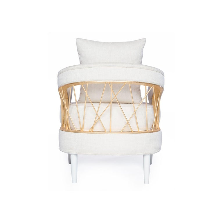 Mexican Monterey Lounge Chair I in White with Gold Details by Badgley Mischka Home For Sale