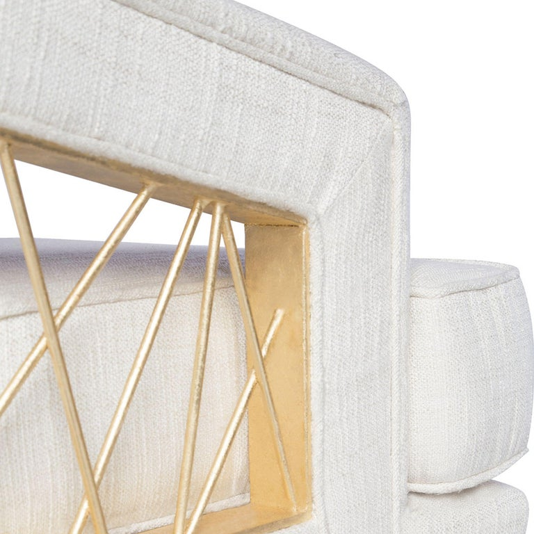 Lacquered Monterey Lounge Chair I in White with Gold Details by Badgley Mischka Home For Sale