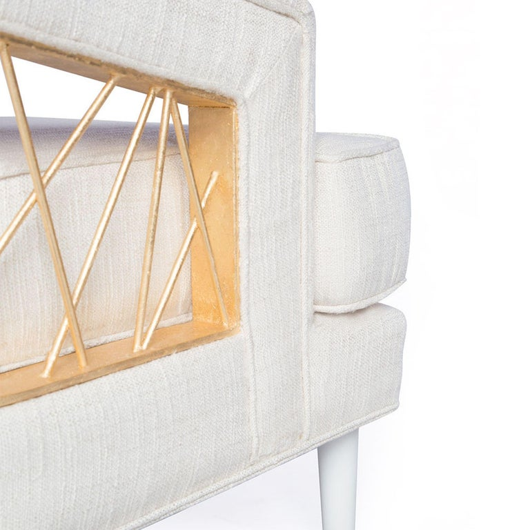 Monterey Lounge Chair I in White with Gold Details by Badgley Mischka Home In New Condition For Sale In Los Angeles, CA