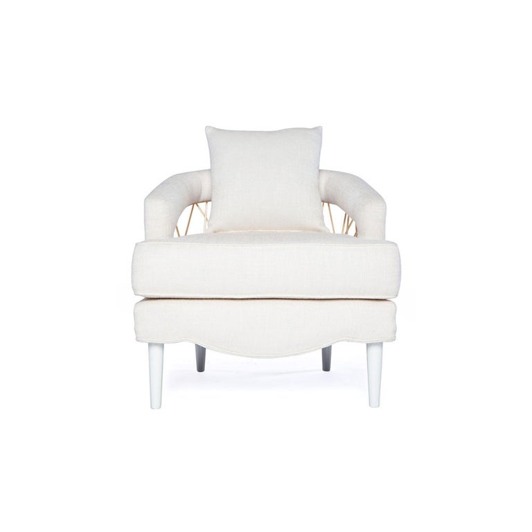 Contemporary Monterey Lounge Chair I in White with Gold Details by Badgley Mischka Home For Sale