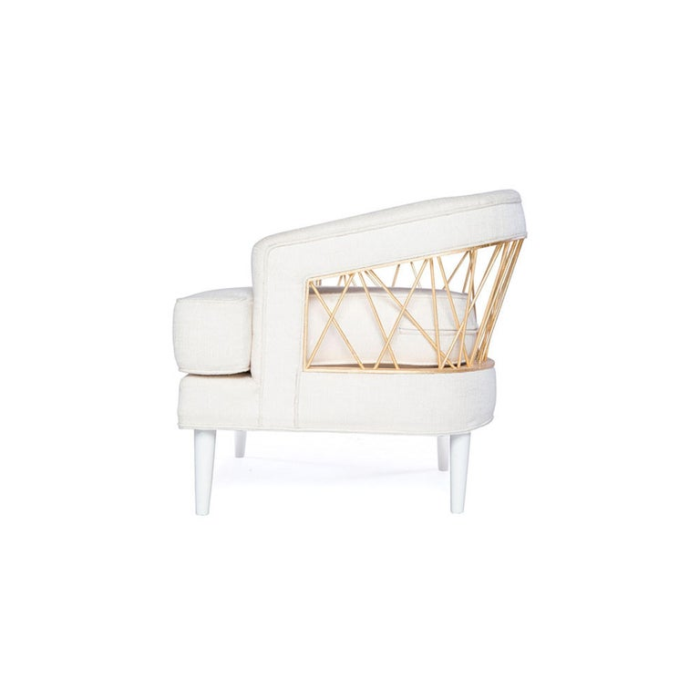 Wood Monterey Lounge Chair I in White with Gold Details by Badgley Mischka Home For Sale