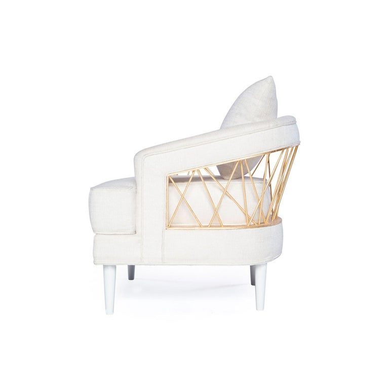 Monterey Lounge Chair I in White with Gold Details by Badgley Mischka Home For Sale 1