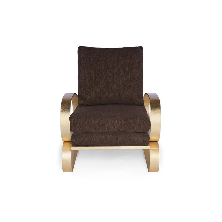 Monterey Lounge Chair II in Brown with Gold Details by Badgley Mischka Home In New Condition For Sale In Los Angeles, CA