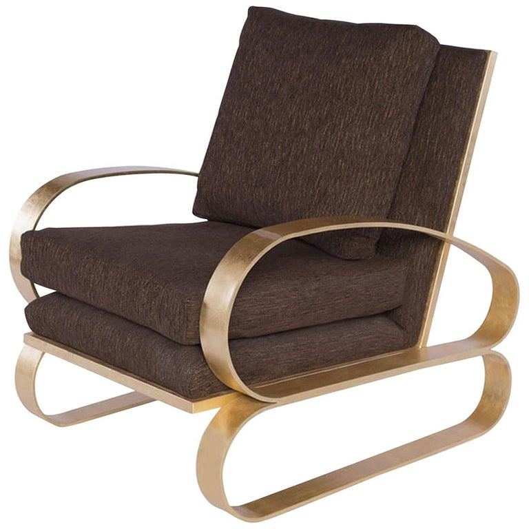 Monterey Lounge Chair II in Brown with Gold Details by Badgley Mischka Home For Sale