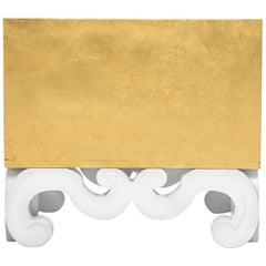 Monterey Scroll Side Table in Aged Gold Leaf by Badgley Mischka Home