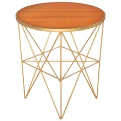 Monterey Short Side Table with Honey Lacquered Top by Badgley Mischka Home