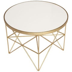 Monterey Short Side Table with White Lacquered Top by Badgley Mischka Home