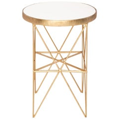 Monterey Tall Side Table with White Lacquered Top by Badgley Mischka Home