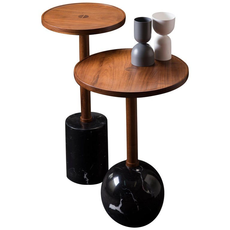 Monterrey Side Tables, Black Marble For Sale